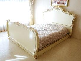 輸入家具■オーダー家具■プリンセス家具■ロココベッド■クィーンサイズ■ゴージャススタイル■アンティークホワイト&ゴールド色■マットなし