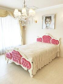 輸入家具 オーダー家具 プリンセス家具 女優ベッド オードリーリボンの彫刻 セミダブルサイズ ショッキングピンクベルベットの張り地