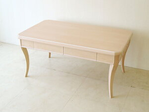 輸入家具 オーダー家具 プリンセス家具 センターテーブル 引出し2杯 W100cm 左右側面にオードリーリボンの彫刻