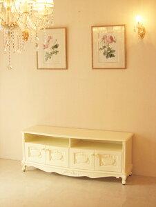 輸入家具 オーダー家具 プリンセス家具 ビバリーヒルズ TVボード W140cm オードリーリボンの彫刻 薔薇のつまみ
