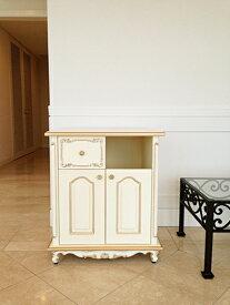 輸入家具 オーダー家具 プリンセス家具 キャビネット シェルの彫刻 ダストボックス収納タイプ アンティークホワイト&ゴールド色