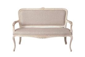 輸入家具 オーダー家具 シャビーシック ブランデコール サラ ベンチソファ ホワイトウォッシュラスティック色