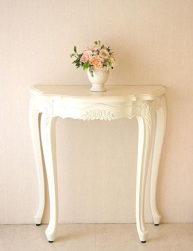 輸入家具■オーダー家具■プリンセス家具■コンソール■ホワイト■薔薇の彫刻