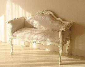 輸入家具 オーダー家具 プリンセス家具 カウチソファ ホワイト色 シェルの彫刻 リボンとブーケ柄オフホワイト