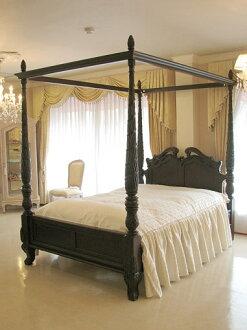 수입 가구 및 주문 가구. 프린세스 가구. 캐노피 침대. 클래식 스타일. 더블 사이즈: 다크 브라운 색상