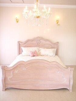輸入家具■プリンセス家具■ラ・シェル■ダブルサイズベッド■ピンクベージュ