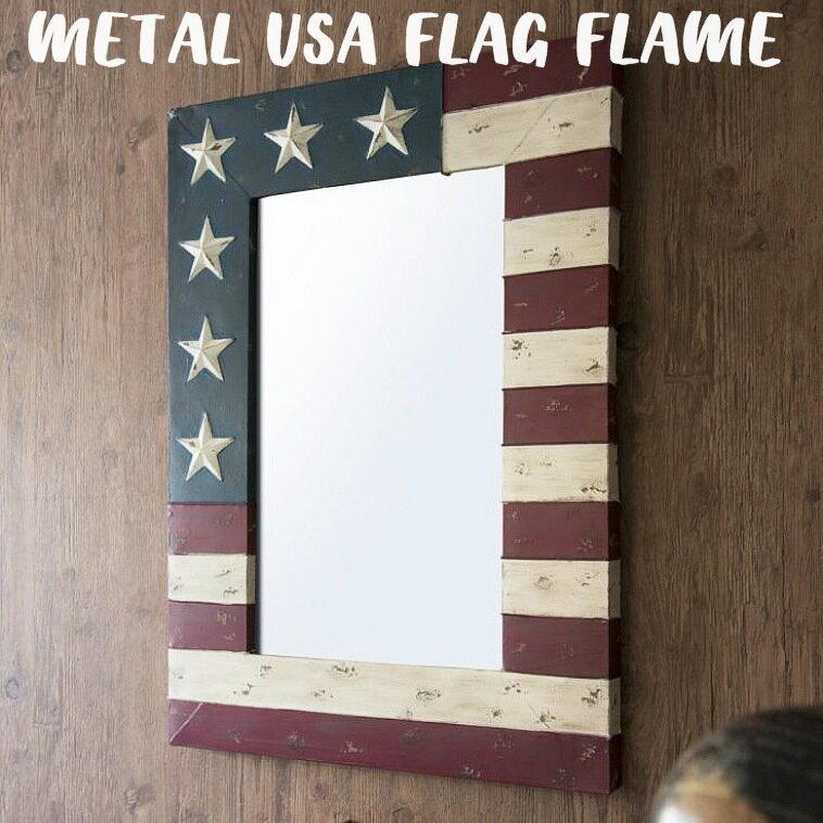 【TOSSDICE トスダイス 】メタルユーエスエー フラッグフレーム METAL USA FLAG MIRROR-FRAME 壁掛け アメリカ 星条旗 国旗 鏡 ポスター アンティーク 【西海岸 インダストリアル】(S)