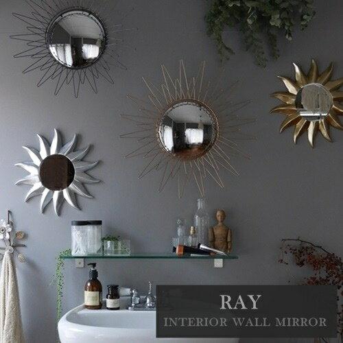 【あす楽】RAY interior wall mirror レイ インテリア ウォールミラー 鏡 アンティーク ヨーロッパ サンバースト 50's【西海岸 インダストリアル】【ウエストビレッジ東京】(z)