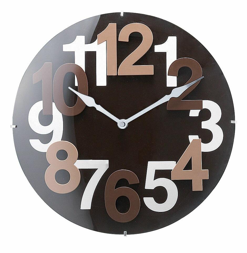 壁掛け時計カルテラウンド[ブラウン]CL-3265 CalteRound[BN]ステップムーブメント 【インターフォルムINTERFORM】