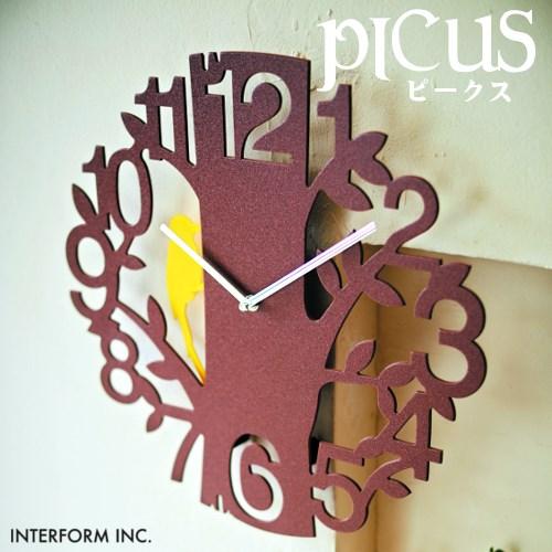 【WH廃番】壁掛け時計ピークス[ホワイト|ブラウン]CL-5743 Picus[WH|BN]ステップムーブメント 【インターフォルムINTERFORM】