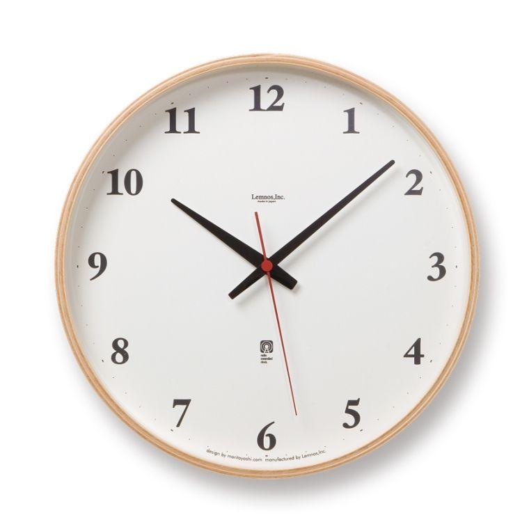 プライウッドクロック LC05-01W 電波 Plywood clock[ナチュラル・ブラウン] モダン ナチュラル シンプル お洒落  【タカタレムノス Lemnos】