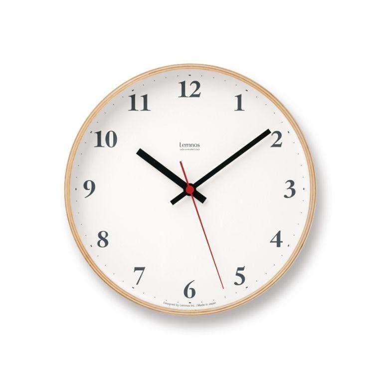 プライウッドクロック LC10-21W 電波 Plywood clock[ナチュラル・ブラウン] モダン ナチュラル シンプル お洒落 【タカタレムノス Lemnos】