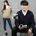 【5倍】Vネックセーター メンズ ビジネス 綿100% スクールセーター 高校生 学生 スクールニット コットンセーター レ…