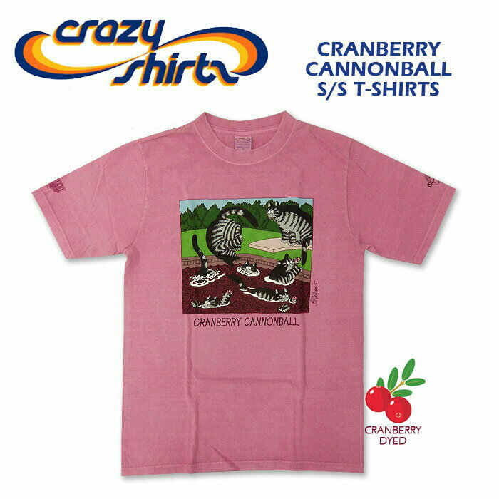 Crazy Shirts(クレイジーシャツ) S/S Tee @Cranberry Dyed[2011132] CRANBERRY CANNONBALL クリバンキャット/半袖/Tシャツ/HAWAII/ハワイ/ネコ メンズ クランベリー染め ハワイ土産【RCP】