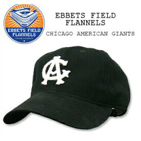 EBBETS FIELD FLANNELS(エベッツ フィールド フランネルズ) BASEBALL CAP[#1] CHICAGO AMERICAN GIANTS Blackキャップ/帽子/野球 別注 フリーサイズ USA【RCP】