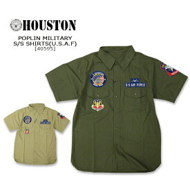 HOUSTON(ヒューストン)POPLIN MILITARY S/S SHIRT[40595]U.S.A.Fコットン ミリタリー 半袖シャツ メンズ アメカジ U.S.ARMY 16【smtb-kd】【RCP】【\5,900】
