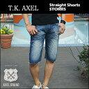 【即納】T.K.AXEL(ティーケーアクセル) DENIM STRAIGHT SHORT @ STORRS [AX41012-19] メンズ デニムショートパンツ ハーフパンツ コットン ヴィンテージ