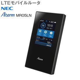 【中古】NEC Aterm MR05LN モバイルルーター自動SIM切り替え LTE [デュアルSIM nanoSIM×2 SIMフリー 無線ac/n/a(5GHz) n/g/b(2.4GHz) ブラック ]:良品