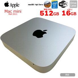 【中古】APPLE Mac mini MID 2011 A1347 小型デスクトップ MacOS High Sierra [Corei5 3210M 2.5GHz SSD512GB 16GB 無線 BT OS10.13.6]:良品