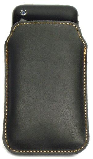 スマートフォン本革携帯ケースグローブ革ブラック