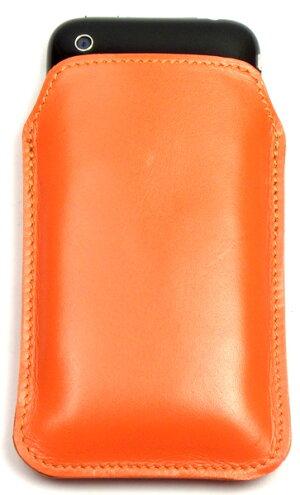 スマートフォン本革携帯ケーススーパーレザーオレンジ