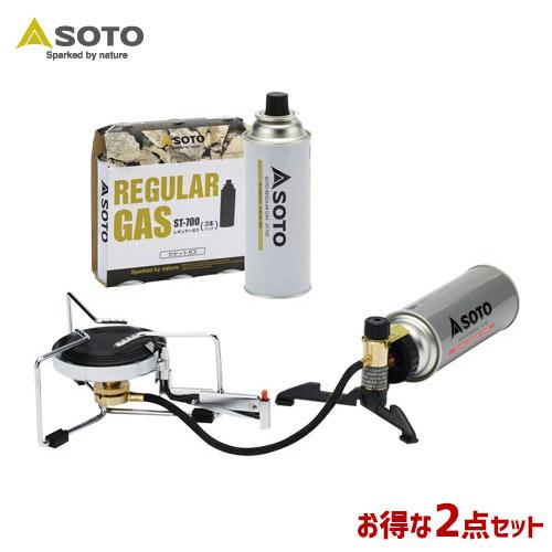 SOTO/ソト シングルバーナー&レギュラーガス2点セット アウトドア・キャンプ用品 ST-301 ST-7001