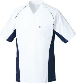 白衣 スクラブ 男女兼用 ジャケット 半袖 MZ-0156 スクラブ 白衣 カラー スクラブ