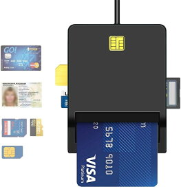 マイナンバーカード対応 カードリーダー IC SIM対応スマートカードリーダー(黒) e-tax、ICチップ付き住民基本台帳カード電子申告(e-Tax)自宅での確定申告USB接続マイナンバーカード、住基カード対応、CAC/SD/マイクロSD(TF) 【代引き不可】