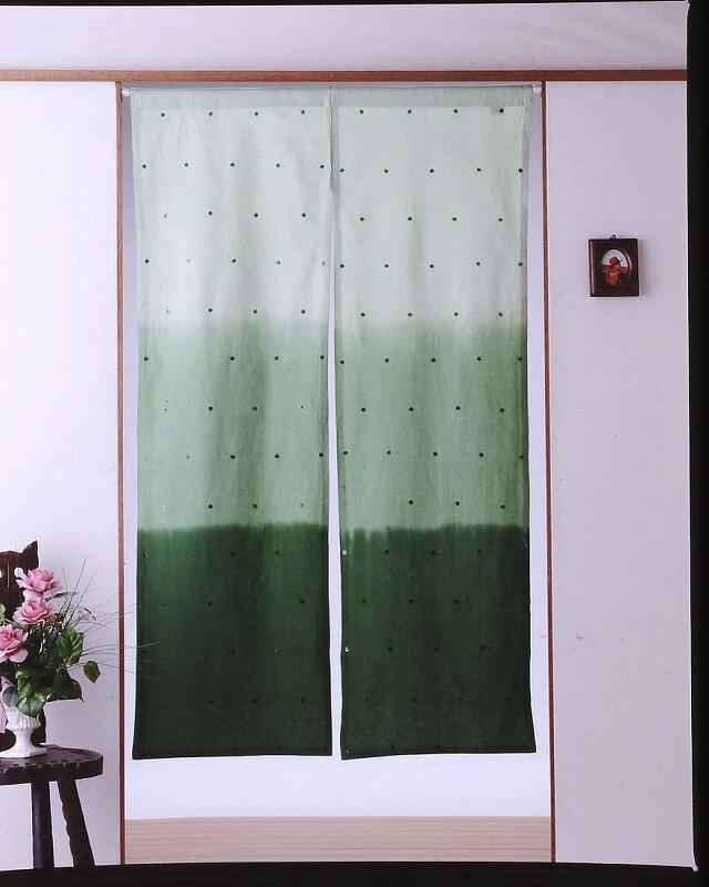 【のれん】【85x150cm】インド綿★キラキラ★スパンコールのれん グリーン【インテリア】【K-03】