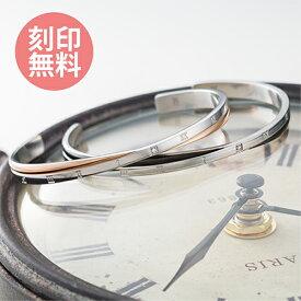 刻印無料 ペアバングル TIME アトラス ローマ数字 クロス アレルギーフリー サージカルステンレス ダイヤモンド ゴールド&ブラック 4SBG005GO&4SBG005BK