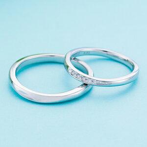 ペアリング プラチナ 3〜21号 刻印無料 カップル 2本セット 誕生石 ダイヤモンド マリッジリング 結婚指輪 シンプル Pt950 細身 WPR550&WPR551 white clover クリスマス 記念日 誕生日 ホワイトデー プ