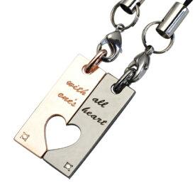 「心を込めて」with all one's heart メッセージ ハートプレートダイヤモンド ペアストラップ WSTR005 white clover カップル
