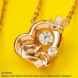 『くまのプーさん』プーさん ダンシングストーン ネックレス ディズニー Disney Winnie the Pooh シルバー925 キュービックジルコニア ハート ペンダント ピンクゴールド DISS011PG white clover カップル