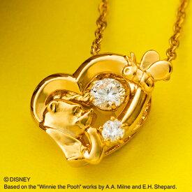 『くまのプーさん』プーさん ダンシングストーン ネックレス ディズニー Disney Winnie the Pooh シルバー925 キュービックジルコニア ハート ペンダント イエローゴールド DISS011YG クリスマス white clover