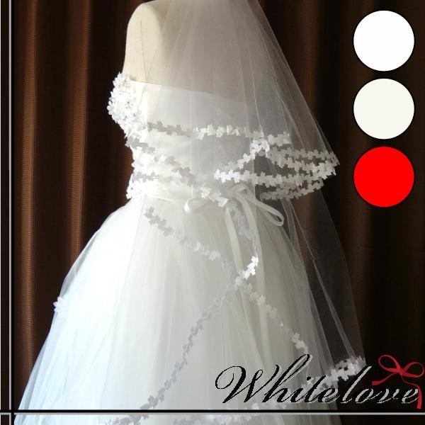 全3色 ウェディングベール ベール ショート ウエディングベール ブライダルベール ウエディング ブライダル ウェディング 小物 結婚式 挙式 花嫁 縫い付け模様 レース ショート丈 【あす楽対応】 ホワイト 白 オフホワイト レッド 赤【メール便対応】