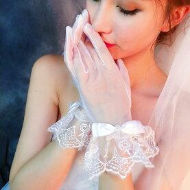 【新製品】ウエディンググローブショートグローブレースリボンフリルウェディンググローブ手袋ブライダル小物結婚式花嫁披露宴二次会演奏会発表会ライブステージホワイト白【あす楽対応】【メール便対応】