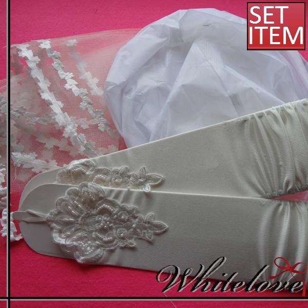 全2色 ブライダルセット ベール&パニエ&グローブ 3点セット ブライダル 小物 衣装 アイテム 結婚式 花嫁 ウエディングドレス フィンガーレス ロンググローブ ショートベール 【あす楽対応】