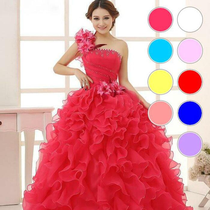 05d7782520ab5  人気商品 全4色編み上げワンショルダーウェーブフリル花モチーフフラワーコサージュ