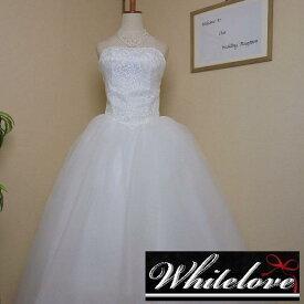 ドレス&ロングパニエのセット 【送料無料】 ウエディングドレス プリンセス Aライン ロングドレス ベアトップ 花嫁 二次会 衣装 カラー:ホワイト 白 サイズ:S/M/L/XL/2XL