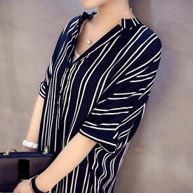 レディース トップス シャツワンピ ミモレ丈 ゆったり 半袖 ストライプ きれいめ 大きいサイズ カジュアル 大人可愛い シック フェミニン オフィス デート お出かけ デイリー ブラック 送料無料