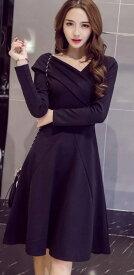 レディース イブニングドレス ワンピース Vネック 長袖 フレア セクシー きれいめ エレガント 清楚 上品 お嬢様 おしゃれ 結婚式 二次会 パーティー 発表会 ブラック レッド 赤色 黒 S M L XL 2XL 大きいサイズ 送料無料
