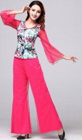 レディース ダンスウェア 衣装 長袖 シースルー メッシュスリープ フレア スカート ワイドパンツ 二重 花柄 社交ダンス スクエアダンス セクシー フェミニン エレガント 大きいサイズ レッド ピンク グリーン 送料無料