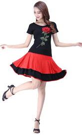レディース ダンスウェア 衣装 Tシャツ フレアスカート 上下セット ドレス 社交ダンス スクエアダンス フォークダンス 演劇 ステージ 花柄 薔薇 バラ フェミニン エレガント セクシー 大きいサイズ ブラック レッド 送料無料