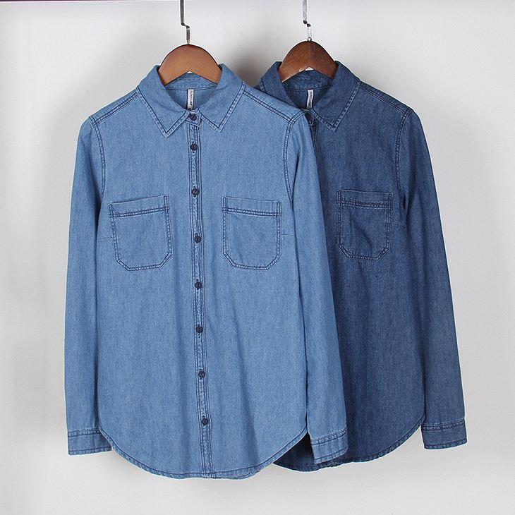 レディース トップス デニムシャツ 長袖 無地 シンプル 定番 カジュアル 大きいサイズ 大人可愛い フェミニン デート 着まわし力◎ お出かけ デイリー ブルー インディゴ 送料無料