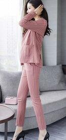 レディース 大きいサイズ スーツ パンツ ストライプ 上下セット セットアップ アンクル丈 ジャケット ボトムス オフィス ビジネス きれいめ おしゃれ フォーマル オリーブ ピンク  S M L XL 2XL サイズ 送料無料