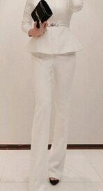 レディース スーツ パンツ ハイウエスト 上下セット セットアップ ジャケット 長袖 ボトムス オフィス ビジネス きれいめ おしゃれ お呼ばれ フォーマル ブラック ホワイト  S M L XL サイズ 送料無料
