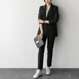 レディース 上下2点セット スーツ セットアップ テーラードジャケット アンクルパンツ カジュアル キュート 可愛い フェミニン きれいめ 上品 エレガント おしゃれ オフィス ブラック レッド グレー ホワイト S M L XL サイズ 送料無料