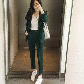 レディース 上下2点セット テーラードジャケット アンクルパンツ スリム スーツ セットアップ カジュアル キュート 可愛い フェミニン きれいめ 上品 エレガント おしゃれ お出かけ オフィス お呼ばれ グリーン S M L XL サイズ 送料無料