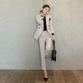 レディース 上下2点セット チェック柄 テーラードジャケット アンクルパンツ スリム スーツ セットアップ カジュアル キュート 可愛い フェミニン きれいめ 上品 エレガント おしゃれ オフィス ホワイト S M L XL 2XL 大きいサイズ 送料無料
