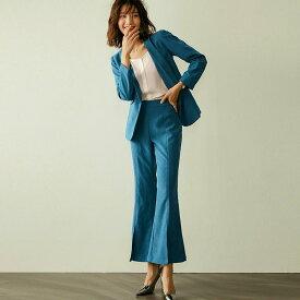 レディース 上下セット パンツスーツ ベルボトム ブーツカット ジャケット セットアップ カジュアル キュート 可愛い フェミニン きれいめ 上品 エレガント おしゃれ お出かけ オフィス お呼ばれ ピーコックブルー 青 S M L XL サイズ 送料無料